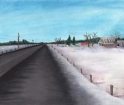 Rural Snow Scenes Originals - Country Road by Anastasiya Malakhova