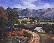 Mountains Painting Metal Prints - Country Road Metal Print by Darice Machel McGuire