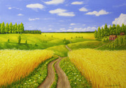 Peaceful Places Paintings - Country road by Veikko Suikkanen