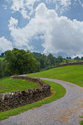 Country Lanes Photo Metal Prints - Country Road with Limestone Fence Metal Print by Kay Pickens