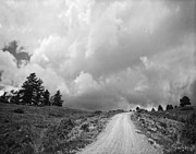 Turbulent Skies Metal Prints - Country Road with Stormy Sky in Black and White Metal Print by Julie Magers Soulen
