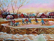 Hockey Players Paintings - Country Scene Painting Outdoor Hockey Rink Canadian Landscape Winter Art Carole Spandau by Carole Spandau