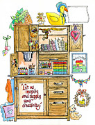 Inspire Drawings Metal Prints - Country Sewing Hutch Metal Print by Barbara Beck-Azar