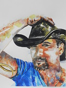 Cowboys  Painting Originals - Country Singer Tim McGraw by Chrisann Ellis