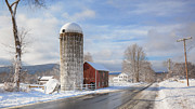 New England Farm Scene Metal Prints - Country Snow Metal Print by Bill  Wakeley