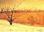 Mid West Landscape Art Posters - Country Snow Fall Poster by Art By Tolpo Collection