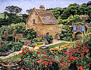 Gardenscapes Painting Framed Prints - Country Stone Manor House Framed Print by David Lloyd Glover