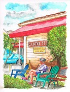 Benches Paintings - Country Store in Los Olivos - California by Carlos G Groppa