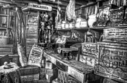 Country Store Supplies Black And White Print by Ken Smith
