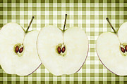 Green Apple Digital Art Posters - Country Style Apple Slices Poster by Natalie Kinnear
