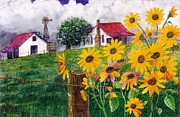 Stormy Weather Mixed Media Posters - Country Sunflowers Poster by Don Hand