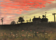 Mid West Landscape Art Posters - Country Sunset Poster by Art By Tolpo Collection