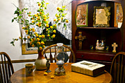 Oil Lamp Photos - Country Table by Bob Hale