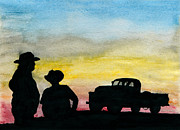 Ranchers Paintings - Country Talk by R Kyllo