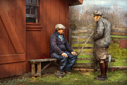 Chatting Prints - Country - The farmhands Print by Mike Savad