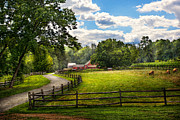 Cloudy Prints - Country - The pasture  Print by Mike Savad