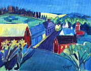 School Houses Painting Posters - Country Village Poster by Betty Pieper
