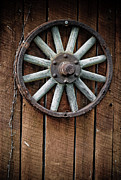 Vintage Log House Prints - Country Wagon Wheel Print by Jt PhotoDesign