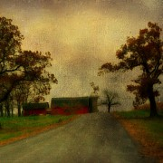 Red Barn Digital Art - Countryscape by Gothicolors And Crows