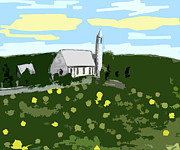 European Artwork Mixed Media Prints - Countryside Church Print by Patrick J Murphy