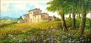 Italian Landscapes Paintings - Countryside farm by Luciano Torsi