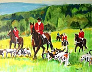 Hunt Painting Prints - Countryside Hunt Print by Judy Kay