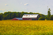 Brown Tones Framed Prints - Countryside Landscape With Red Barns Framed Print by Ben and Raisa Gertsberg