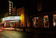 Bucks County Posters - County Theater at Night Poster by William Jobes