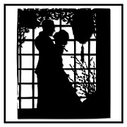 Embracing Digital Art Framed Prints - Couple in Love Silhouette Framed Print by Rose Santuci-Sofranko