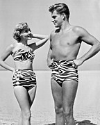 Bathing Photos - Couple In Matching Attire by Underwood Archives