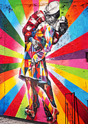 Couple Kissing In Times Square On V-j Day Print by Rona Black