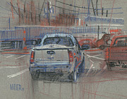Parking Drawings - Couple of Chevys by Donald Maier
