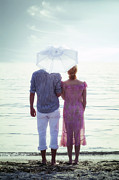 Sky Lovers Posters - Couple On The Beach Poster by Joana Kruse