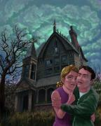 Frightened Framed Prints - Couple Outside Haunted House Framed Print by Martin Davey