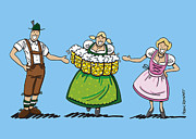Waitress Drawings Posters - Couple Welcomes Oktoberfest Beer Waitress Poster by Frank Ramspott