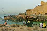Northern Africa Prints - Couples by Fort of Qaitbye on the Mediterranean Sea in Alexandria Print by Ruth Hager
