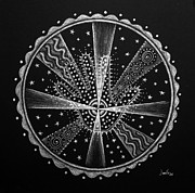 Mandala Drawings - Courage and Strength by Janelle Schneider