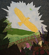 Bird Landscape Tapestries - Textiles - Courage is the Bird that Soars by Denise Hoag