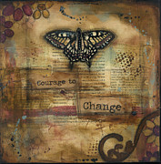Burgundy Mixed Media Posters - Courage to Change Poster by Shawn Petite