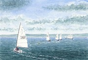 Peter Farrow Metal Prints - Course to steer - Storm approaching - West Kirby Marine Lake Metal Print by Peter Farrow