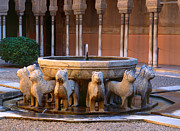 Leones Posters - Court of the Lions in The Alhambra Poster by Guido Montanes Castillo