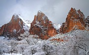 Zion National Park Posters - Court of the Patriarchs in snow at Zion National Park Poster by Jetson Nguyen