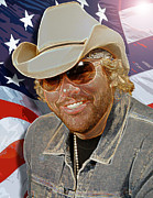 Bmi Posters - Courtesy of the Red white and Blue  Toby Keith Poster by Don Olea