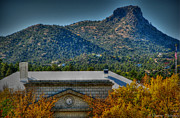 Prescott Photos - Courthouse Autumn Below Thumb Butte HDR by Aaron Burrows