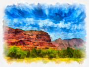 Oak Creek Digital Art Framed Prints - Courthouse Butte Sedona Arizona Framed Print by Amy Cicconi