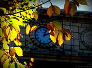 Prescott Photos - Courthouse Clock in Autumn by Aaron Burrows