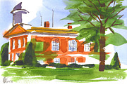 Water Colours Posters - Courthouse on a Summers Evening Poster by Kip DeVore