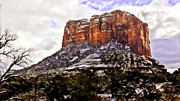 Oak Creek Digital Art Framed Prints - Courthouse Rock Sedona Framed Print by Nadine and Bob Johnston
