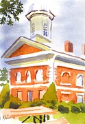 Cloudy Day Painting Posters - Courthouse with Picnic Table Poster by Kip DeVore