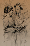 Turn Of The Century Drawings - Courting by Derrick Higgins